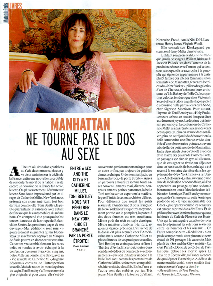 Toni Bentley THE SURRENDER in Paris Match